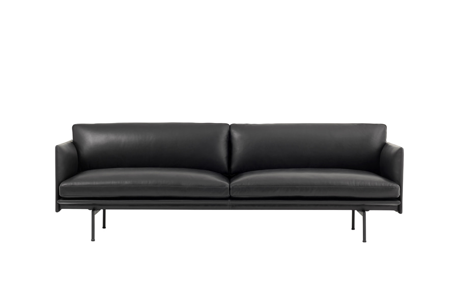 무토 아웃라인 소파 Outline Sofa 3Seater Refine Leather Black