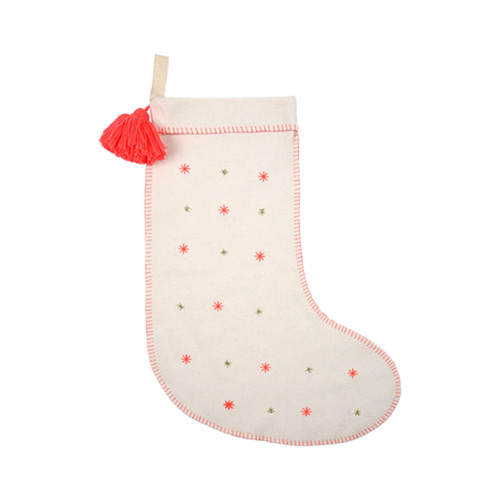 Embroidered Stars Felt Stocking Pink