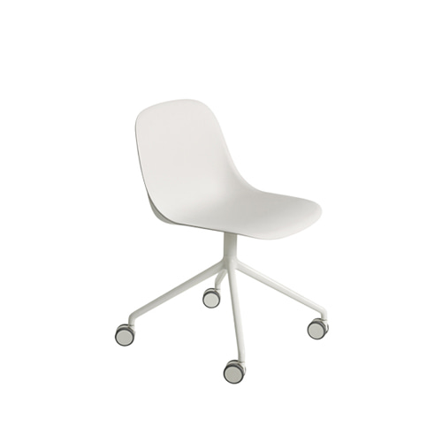 무토 화이버 사이드 체어 Fiber Side Chair Swivel Base W.Castors White/White