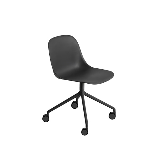 무토 화이버 사이드 체어 Fiber Side Chair Swivel Base W.Castors Black/Black