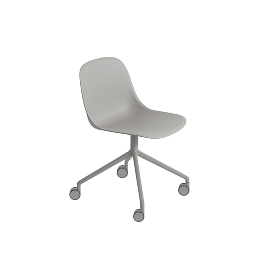 무토 화이버 사이드 체어 Fiber Side Chair Swivel Base W.Castors Grey/Grey