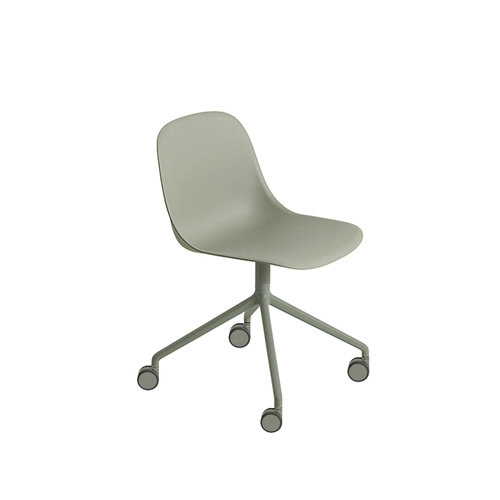 무토 화이버 사이드 체어 Fiber Side Chair Swivel Base W.Castors Dusty Green/Dusty Green