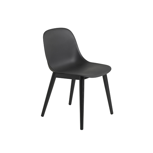 무토 화이버 사이드 체어 Fiber Side Chair Wood Base Black/Black