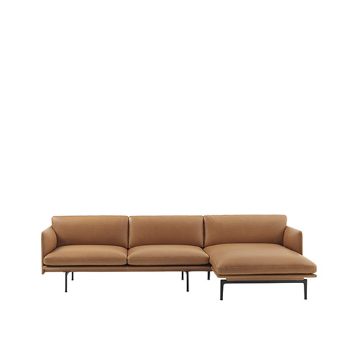무토 아웃라인 소파 Outline Sofa Chaise Lounge Refine Leather Cognac