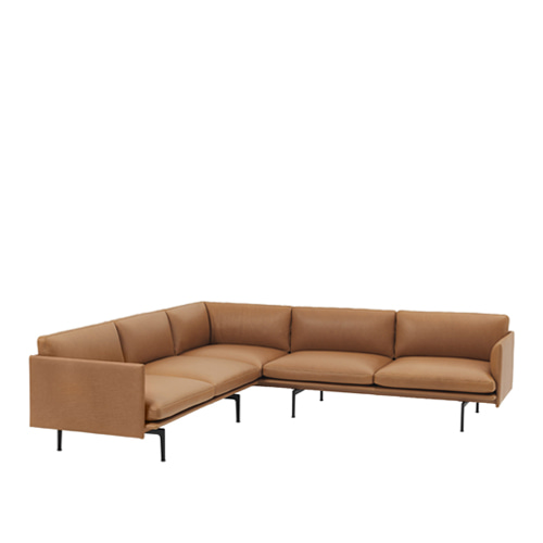 무토 아웃라인 소파 Outline Sofa Corner Refine Leather Cognac